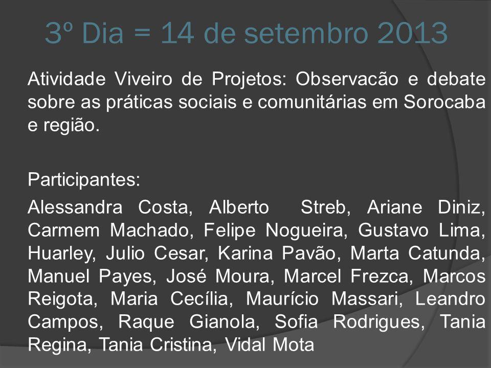 3º Dia = 14 de setembro 2013 Atividade Viveiro de Projetos: Observacão e debate sobre as práticas sociais e comunitárias em Sorocaba e região. Partici