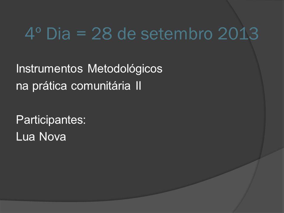 4º Dia = 28 de setembro 2013 Instrumentos Metodológicos na prática comunitária II Participantes: Lua Nova
