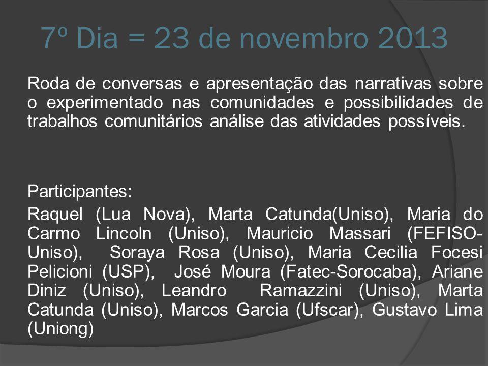 7º Dia = 23 de novembro 2013 Roda de conversas e apresentação das narrativas sobre o experimentado nas comunidades e possibilidades de trabalhos comun