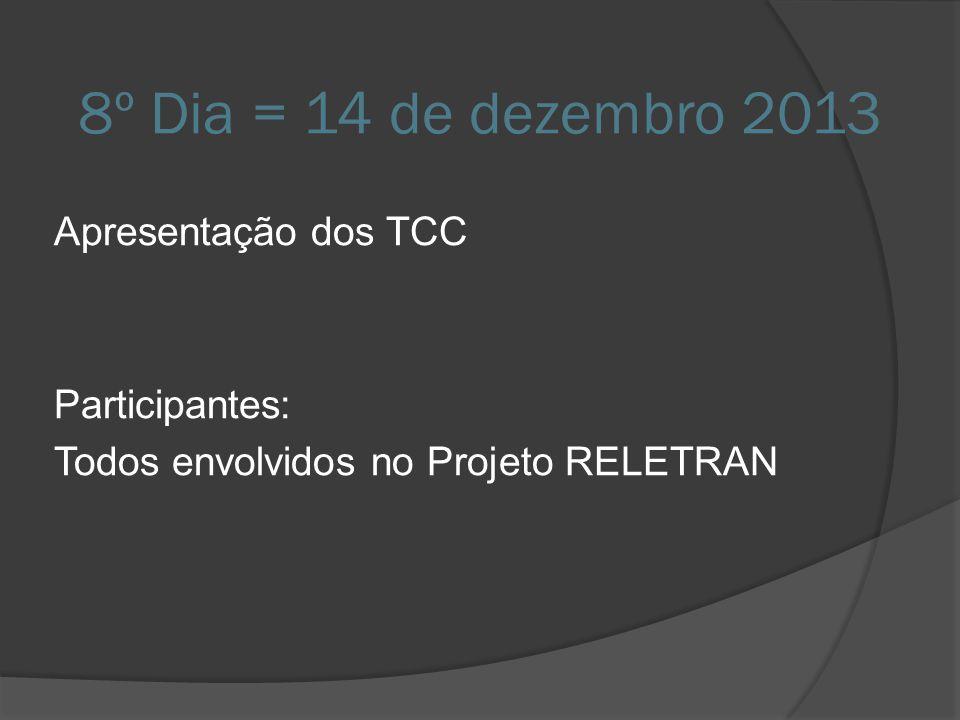 8º Dia = 14 de dezembro 2013 Apresentação dos TCC Participantes: Todos envolvidos no Projeto RELETRAN