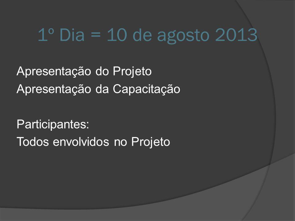 1º Dia = 10 de agosto 2013 Apresentação do Projeto Apresentação da Capacitação Participantes: Todos envolvidos no Projeto