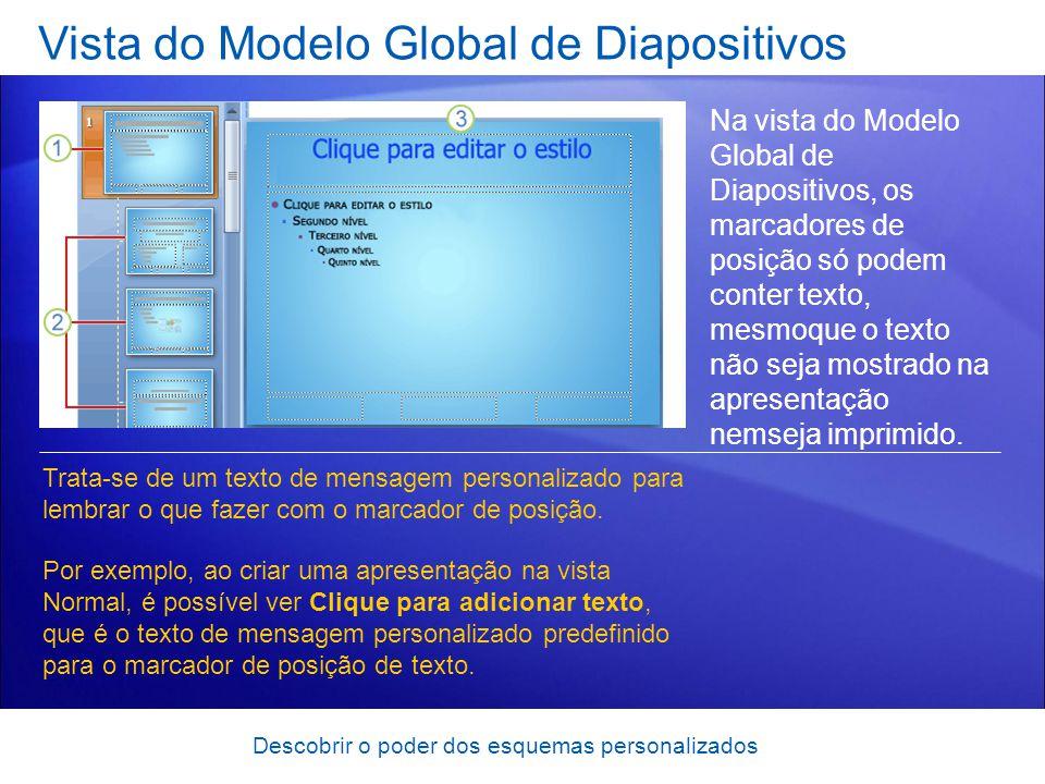Descobrir o poder dos esquemas personalizados Vista do Modelo Global de Diapositivos Na vista do Modelo Global de Diapositivos, os marcadores de posição só podem conter texto, mesmoque o texto não seja mostrado na apresentação nemseja imprimido.