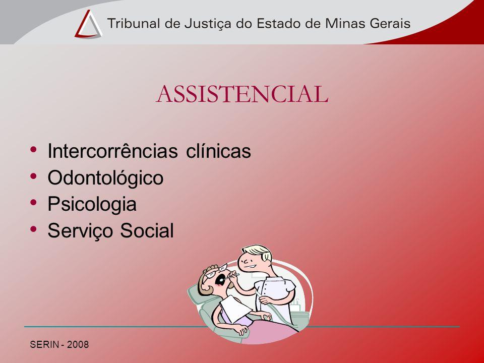 ASSISTENCIAL Intercorrências clínicas Odontológico Psicologia Serviço Social SERIN - 2008