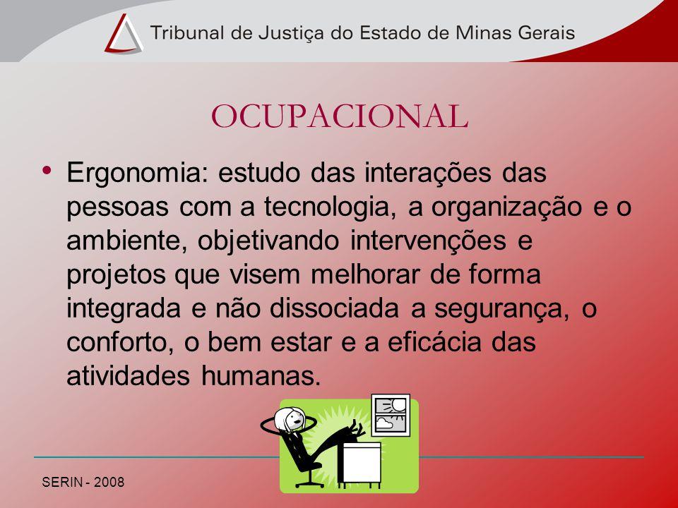 OCUPACIONAL Ergonomia: estudo das interações das pessoas com a tecnologia, a organização e o ambiente, objetivando intervenções e projetos que visem m
