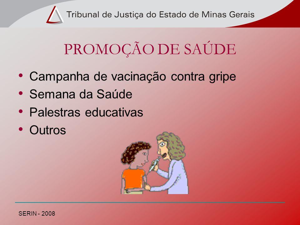 PROMOÇÃO DE SAÚDE Campanha de vacinação contra gripe Semana da Saúde Palestras educativas Outros SERIN - 2008
