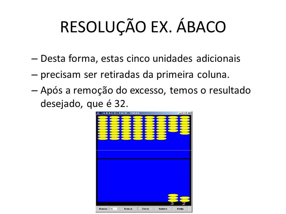 RESOLUÇÃO EX. ÁBACO – Desta forma, estas cinco unidades adicionais – precisam ser retiradas da primeira coluna. – Após a remoção do excesso, temos o r