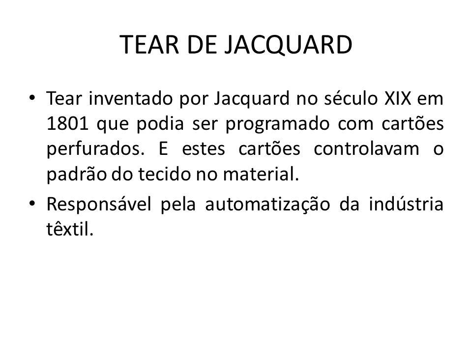 TEAR DE JACQUARD Tear inventado por Jacquard no século XIX em 1801 que podia ser programado com cartões perfurados. E estes cartões controlavam o padr