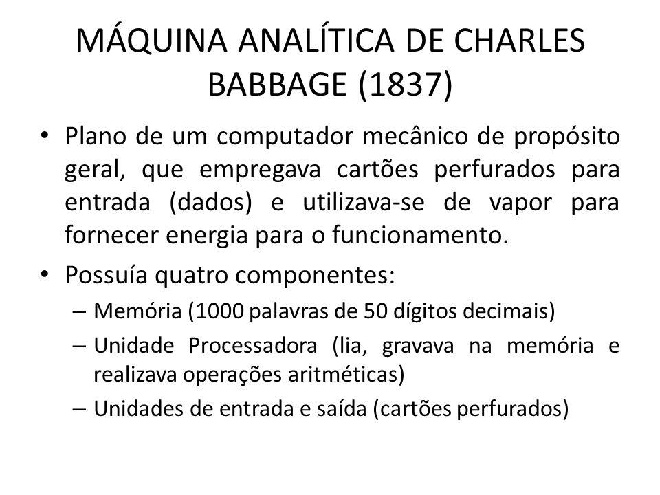 MÁQUINA ANALÍTICA DE CHARLES BABBAGE (1837) Plano de um computador mecânico de propósito geral, que empregava cartões perfurados para entrada (dados) e utilizava-se de vapor para fornecer energia para o funcionamento.