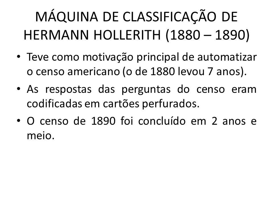 MÁQUINA DE CLASSIFICAÇÃO DE HERMANN HOLLERITH (1880 – 1890) Teve como motivação principal de automatizar o censo americano (o de 1880 levou 7 anos). A