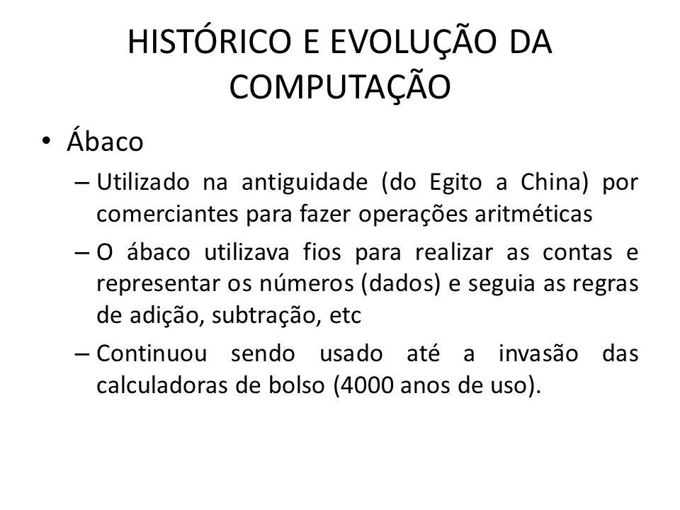 HISTÓRICO E EVOLUÇÃO DA COMPUTAÇÃO Ábaco – Utilizado na antiguidade (do Egito a China) por comerciantes para fazer operações aritméticas – O ábaco uti