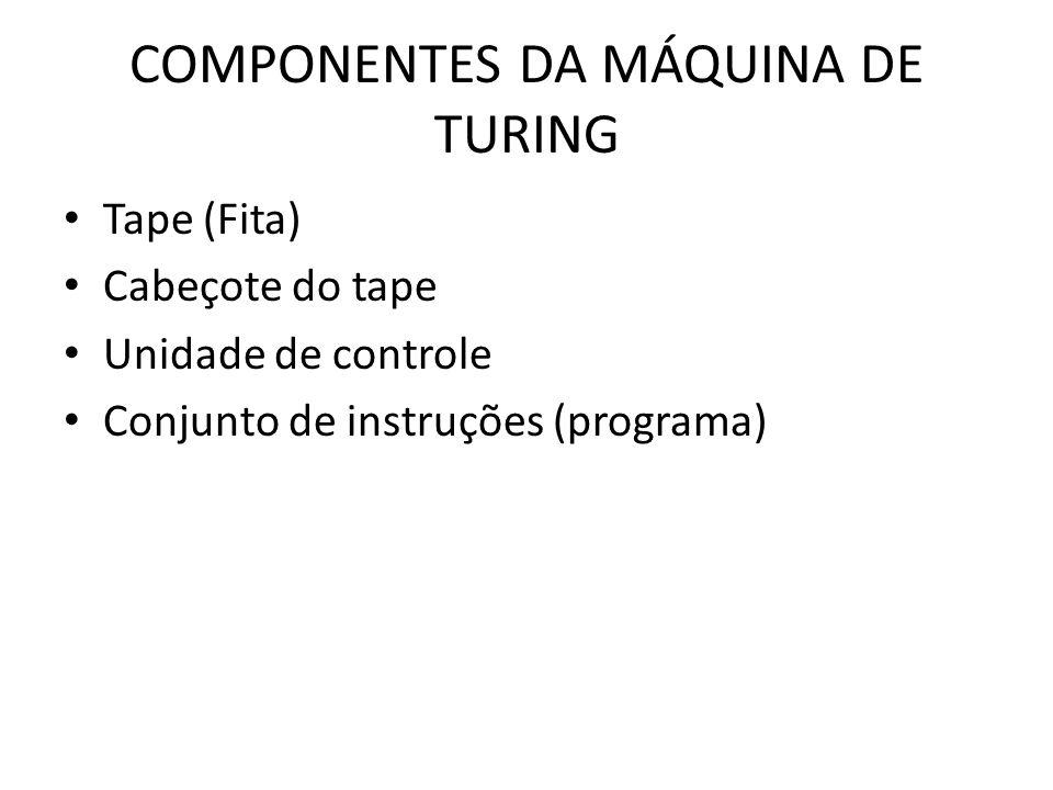 COMPONENTES DA MÁQUINA DE TURING Tape (Fita) Cabeçote do tape Unidade de controle Conjunto de instruções (programa)
