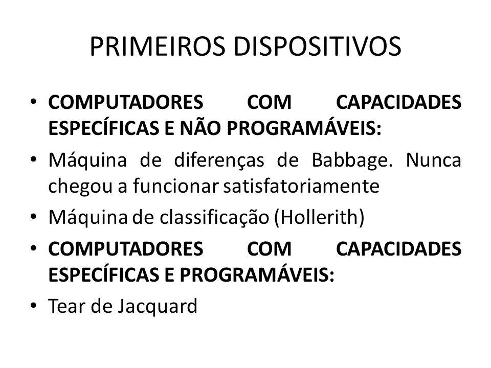 PRIMEIROS DISPOSITIVOS COMPUTADORES COM CAPACIDADES ESPECÍFICAS E NÃO PROGRAMÁVEIS: Máquina de diferenças de Babbage.