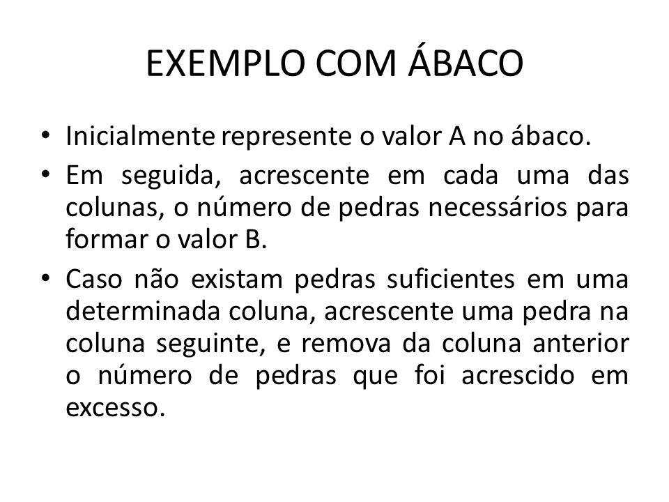 EXEMPLO COM ÁBACO Inicialmente represente o valor A no ábaco. Em seguida, acrescente em cada uma das colunas, o número de pedras necessários para form