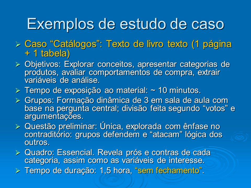 Exemplos de estudo de caso  Caso Catálogos : Texto de livro texto (1 página + 1 tabela)  Objetivos: Explorar conceitos, apresentar categorias de produtos, avaliar comportamentos de compra, extrair variáveis de análise.
