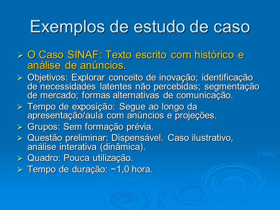 Exemplos de estudo de caso  O Caso SINAF: Texto escrito com histórico e análise de anúncios.  Objetivos: Explorar conceito de inovação; identificaçã