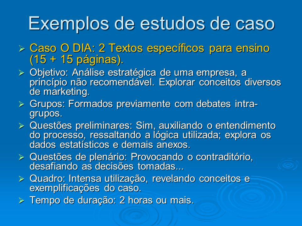 Exemplos de estudos de caso  Caso O DIA: 2 Textos específicos para ensino (15 + 15 páginas).