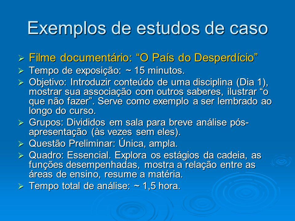 """Exemplos de estudos de caso  Filme documentário: """"O País do Desperdício""""  Tempo de exposição: ~ 15 minutos.  Objetivo: Introduzir conteúdo de uma d"""