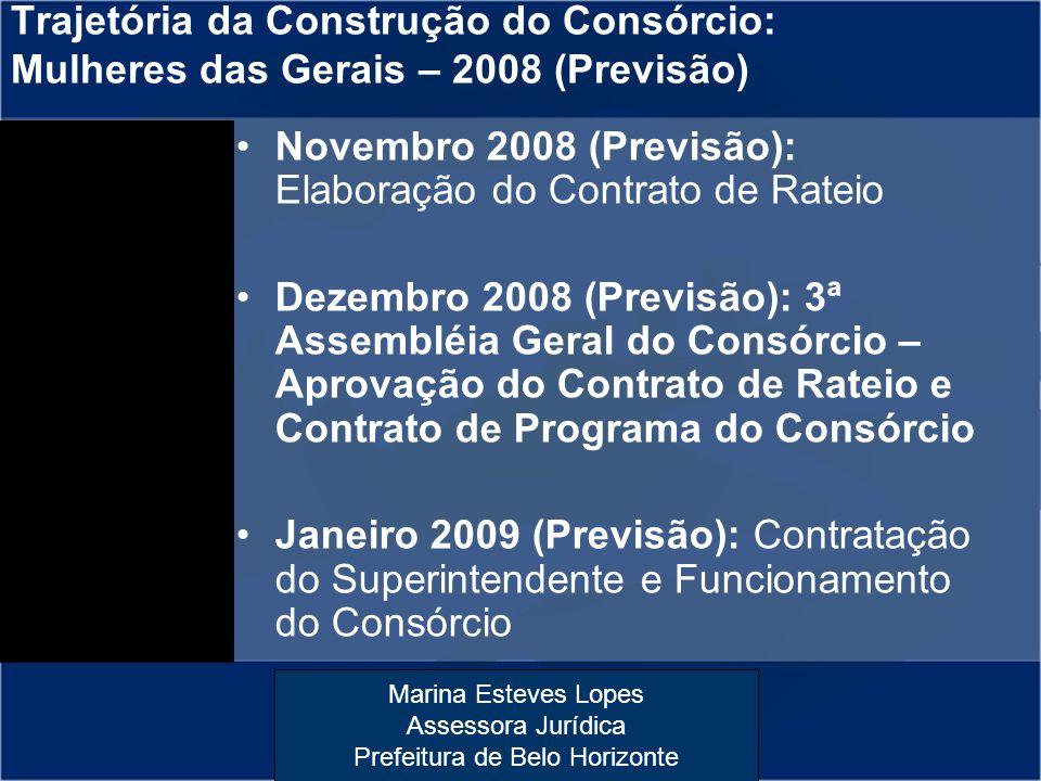 Marina Esteves Lopes Assessora Jurídica Prefeitura de Belo Horizonte Trajetória da Construção do Consórcio: Mulheres das Gerais – 2008 (Previsão) Nove