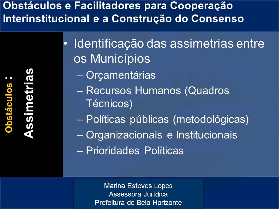 Marina Esteves Lopes Assessora Jurídica Prefeitura de Belo Horizonte Obstáculos e Facilitadores para Cooperação Interinstitucional e a Construção do C