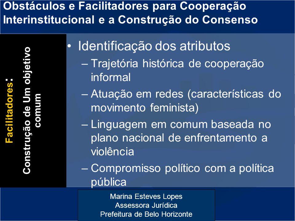 Marina Esteves Lopes Assessora Jurídica Prefeitura de Belo Horizonte Identificação dos atributos –Trajetória histórica de cooperação informal –Atuação