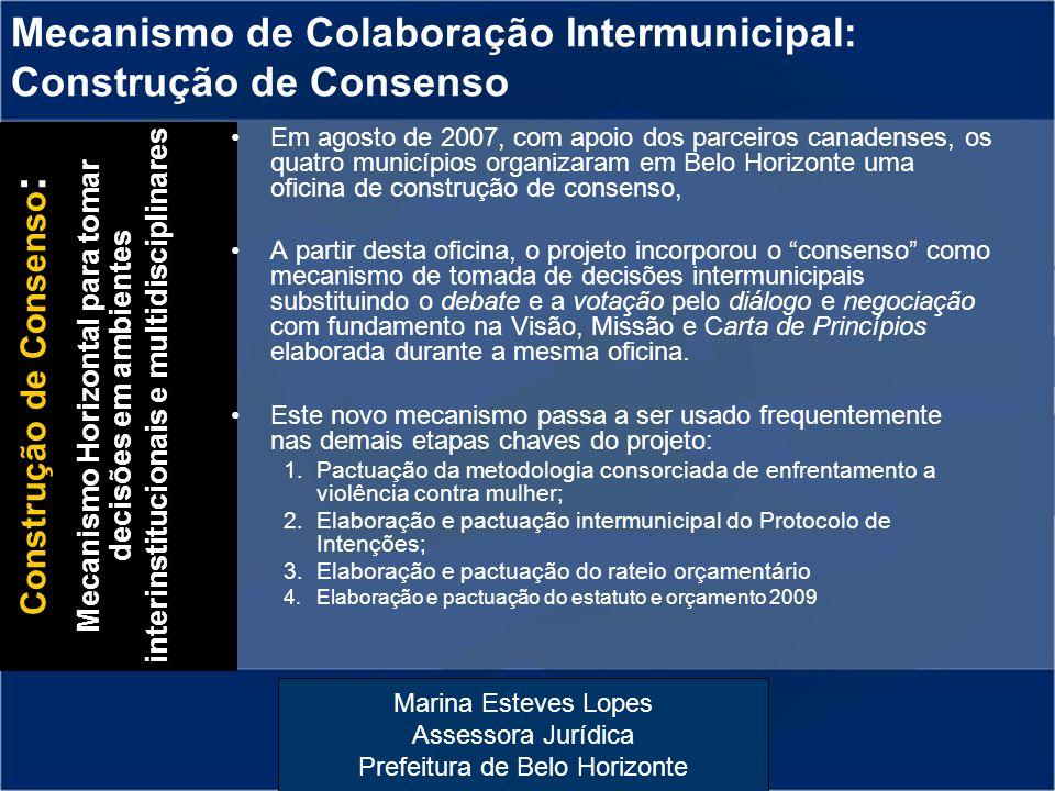 Marina Esteves Lopes Assessora Jurídica Prefeitura de Belo Horizonte Mecanismo de Colaboração Intermunicipal: Construção de Consenso Em agosto de 2007