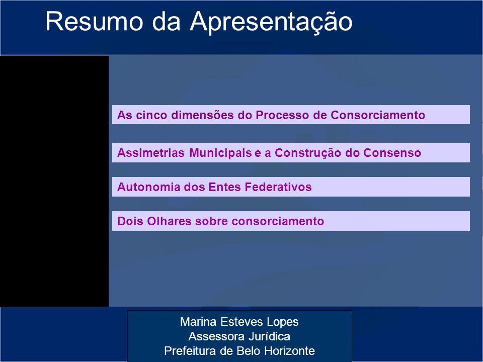 Marina Esteves Lopes Assessora Jurídica Prefeitura de Belo Horizonte Resumo da Apresentação As cinco dimensões do Processo de Consorciamento Autonomia