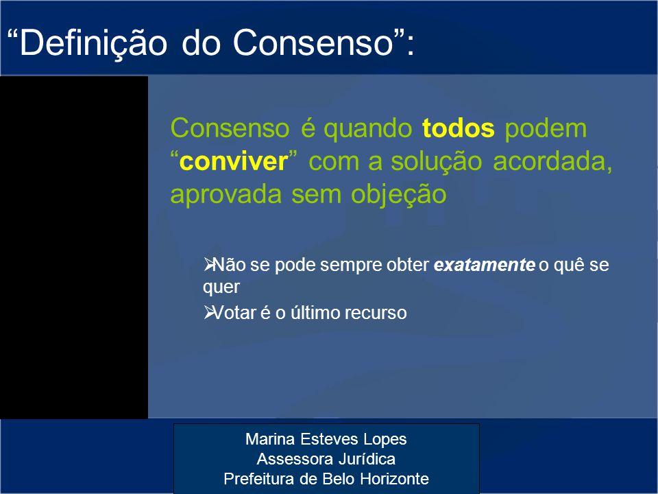 """Marina Esteves Lopes Assessora Jurídica Prefeitura de Belo Horizonte """"Definição do Consenso"""": Consenso é quando todos podem """"conviver"""" com a solução a"""