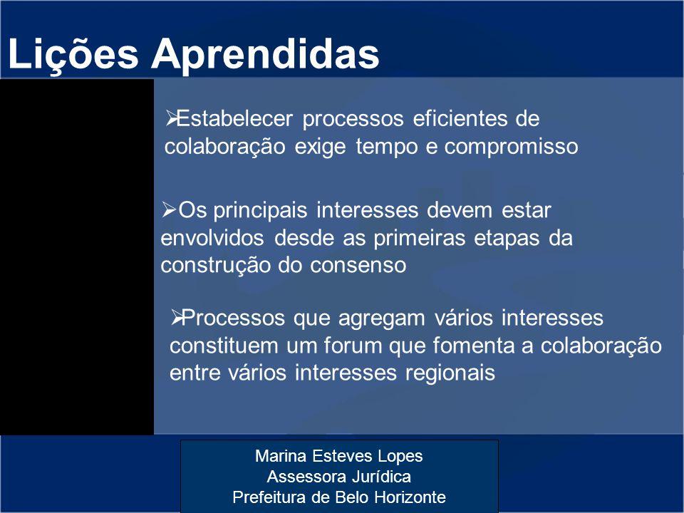 Marina Esteves Lopes Assessora Jurídica Prefeitura de Belo Horizonte Lições Aprendidas  Estabelecer processos eficientes de colaboração exige tempo e