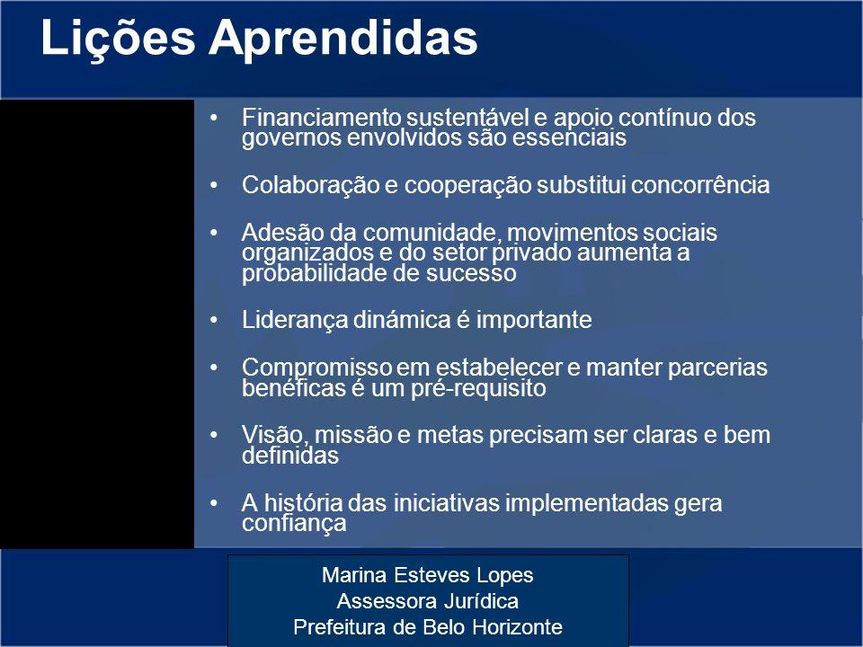 Marina Esteves Lopes Assessora Jurídica Prefeitura de Belo Horizonte Lições Aprendidas Financiamento sustentável e apoio contínuo dos governos envolvi