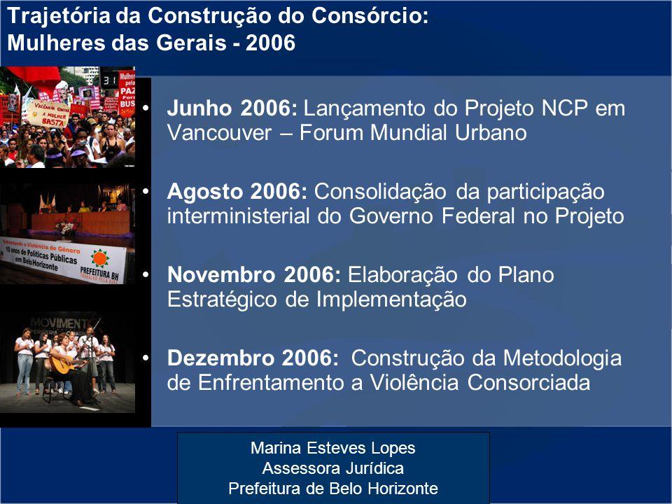 Marina Esteves Lopes Assessora Jurídica Prefeitura de Belo Horizonte Trajetória da Construção do Consórcio: Mulheres das Gerais - 2006 Junho 2006: Lan