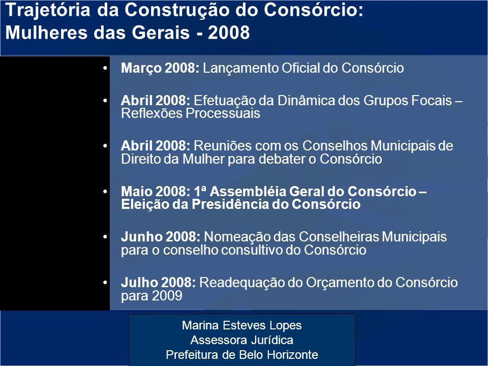 Marina Esteves Lopes Assessora Jurídica Prefeitura de Belo Horizonte Março 2008: Lançamento Oficial do Consórcio Abril 2008: Efetuação da Dinâmica dos