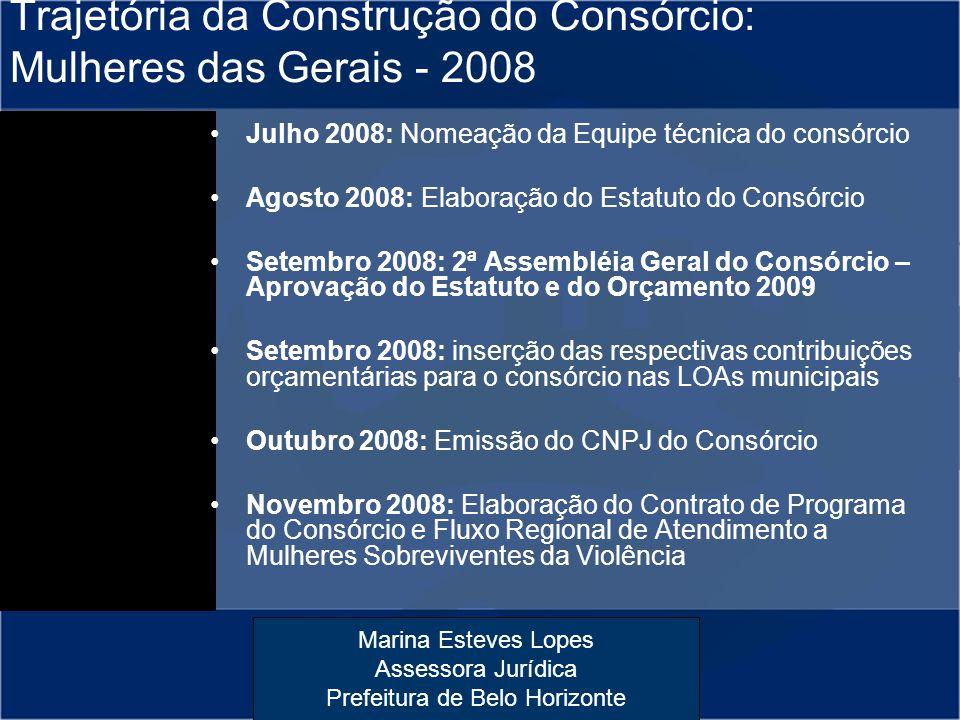 Marina Esteves Lopes Assessora Jurídica Prefeitura de Belo Horizonte Trajetória da Construção do Consórcio: Mulheres das Gerais - 2008 Julho 2008: Nom