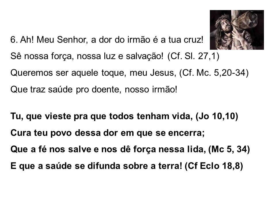 6. Ah. Meu Senhor, a dor do irmão é a tua cruz. Sê nossa força, nossa luz e salvação.