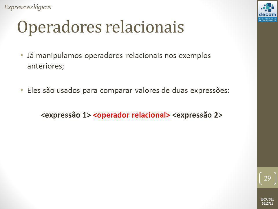 BCC701 2012/01 Operadores relacionais Operadores relacionais definidos no Scilab: 30 Expressões lógicas OperadorDescrição >Maior que.
