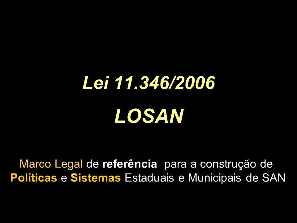 Lei 11.346/2006 LOSAN Marco Legal de referência para a construção de Políticas e Sistemas Estaduais e Municipais de SAN