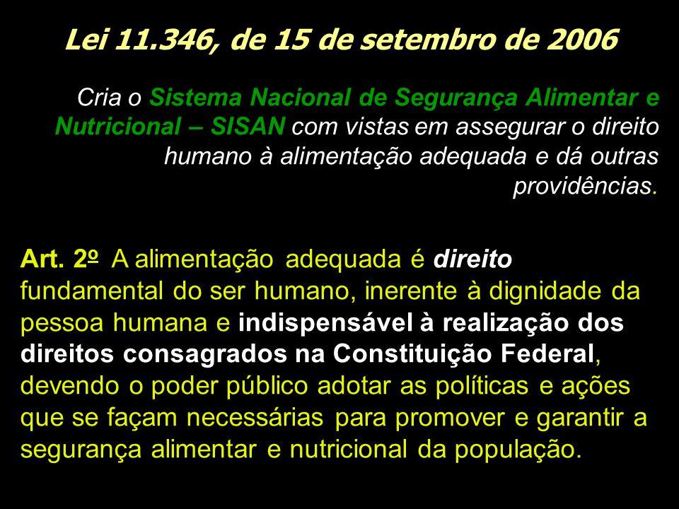 Lei 11.346, de 15 de setembro de 2006 Cria o Sistema Nacional de Segurança Alimentar e Nutricional – SISAN com vistas em assegurar o direito humano à