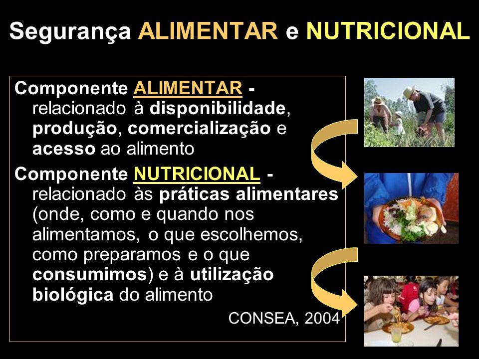 Segurança ALIMENTAR e NUTRICIONAL Componente ALIMENTAR - relacionado à disponibilidade, produção, comercialização e acesso ao alimento Componente NUTR