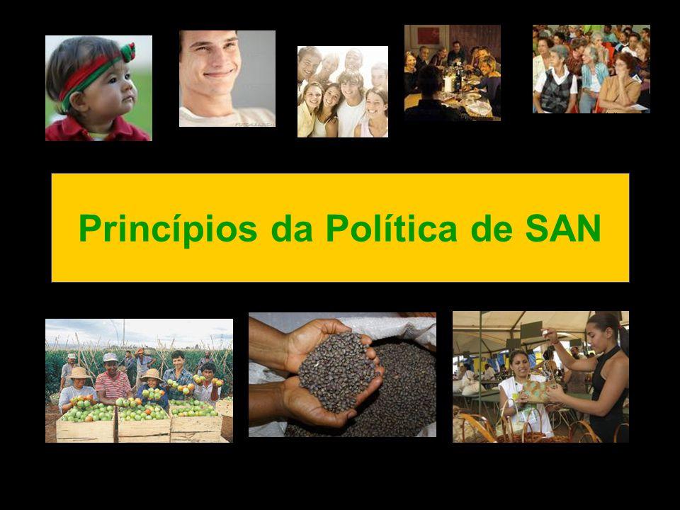 Princípios da Política de SAN Fonte: www.liderancaptpr.com.br Fonte: secom.to.gov.br Fonte: www.pnet.pt Fonte: www.fotosearch.com.br Fonte: www.jornal