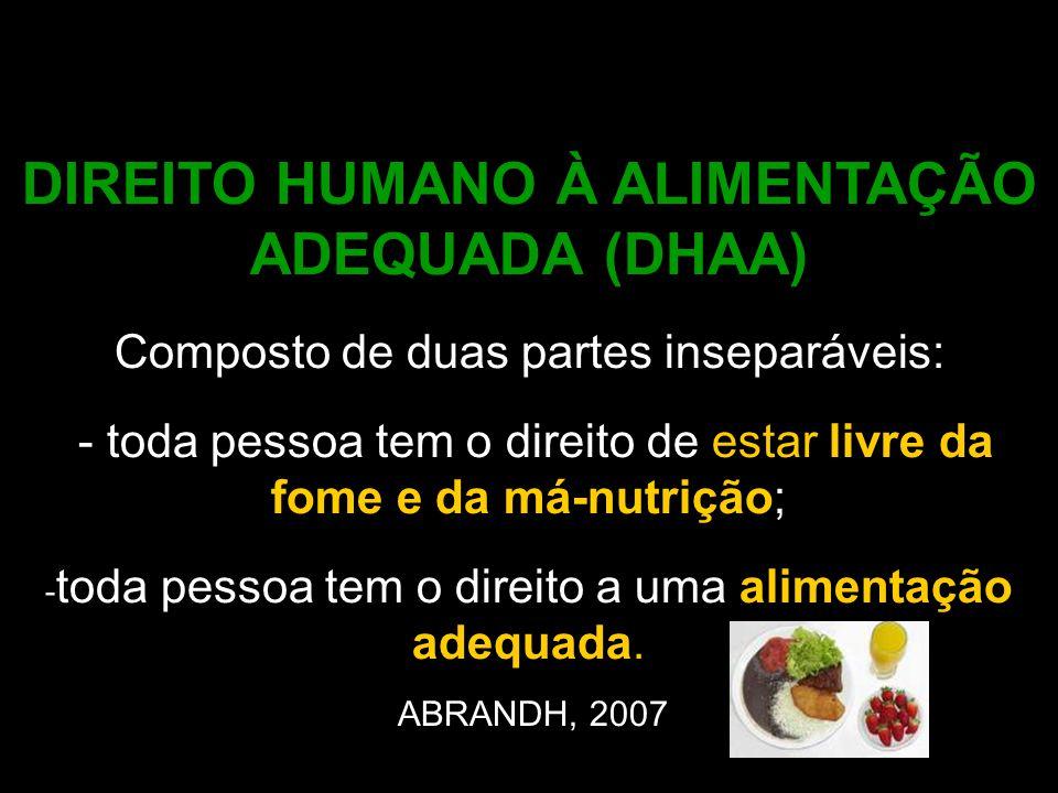 DIREITO HUMANO À ALIMENTAÇÃO ADEQUADA (DHAA) Composto de duas partes inseparáveis: - toda pessoa tem o direito de estar livre da fome e da má-nutrição
