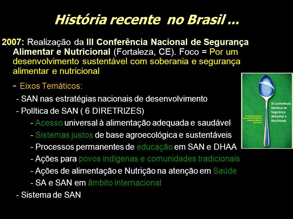 História recente no Brasil... 2007: Realização da III Conferência Nacional de Segurança Alimentar e Nutricional (Fortaleza, CE). Foco = Por um desenvo