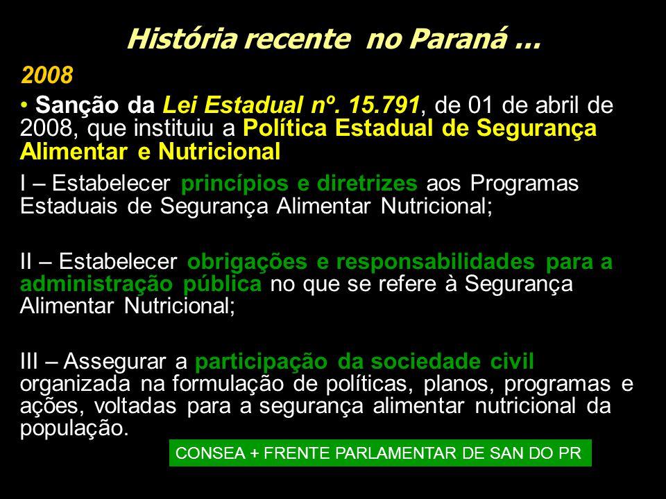 História recente no Paraná... 2008 Sanção da Lei Estadual nº. 15.791, de 01 de abril de 2008, que instituiu a Política Estadual de Segurança Alimentar