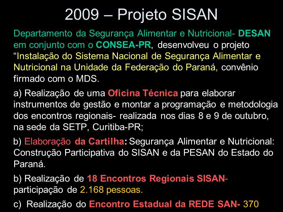 """2009 – Projeto SISAN -Departamento da Segurança Alimentar e Nutricional- DESAN em conjunto com o CONSEA-PR, desenvolveu o projeto """"Instalação do Siste"""