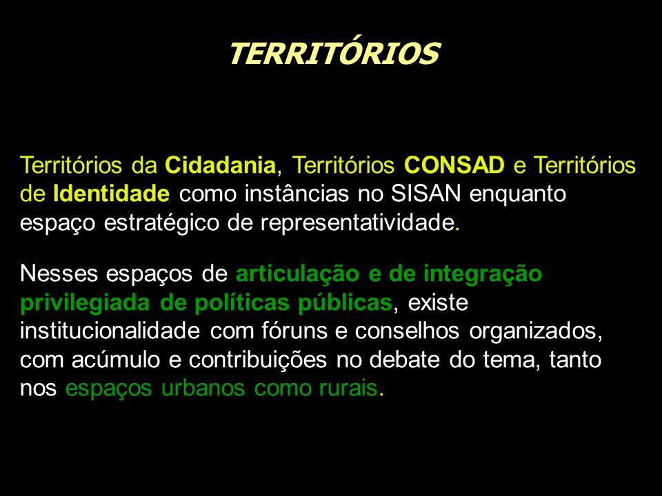 TERRITÓRIOS Territórios da Cidadania, Territórios CONSAD e Territórios de Identidade como instâncias no SISAN enquanto espaço estratégico de represent