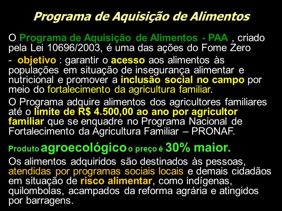 Programa de Aquisição de Alimentos O Programa de Aquisição de Alimentos - PAA, criado pela Lei 10696/2003, é uma das ações do Fome Zero - objetivo : g