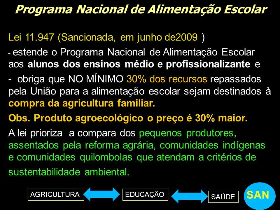 Programa Nacional de Alimentação Escolar Lei 11.947 (Sancionada, em junho de2009 ) - estende o Programa Nacional de Alimentação Escolar aos alunos dos