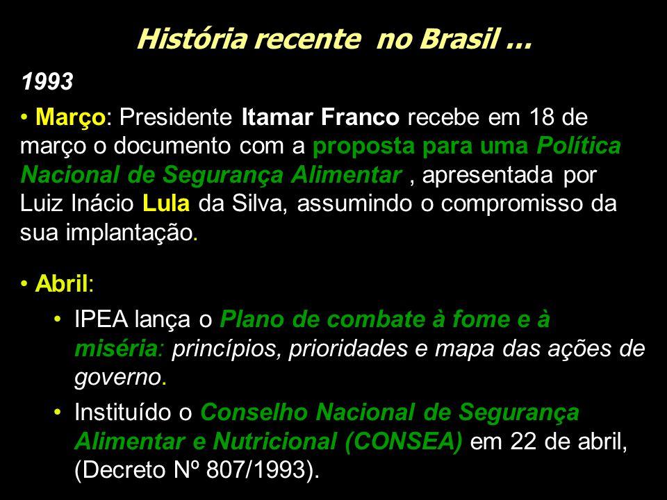 História recente no Brasil... 1993 Março: Presidente Itamar Franco recebe em 18 de março o documento com a proposta para uma Política Nacional de Segu