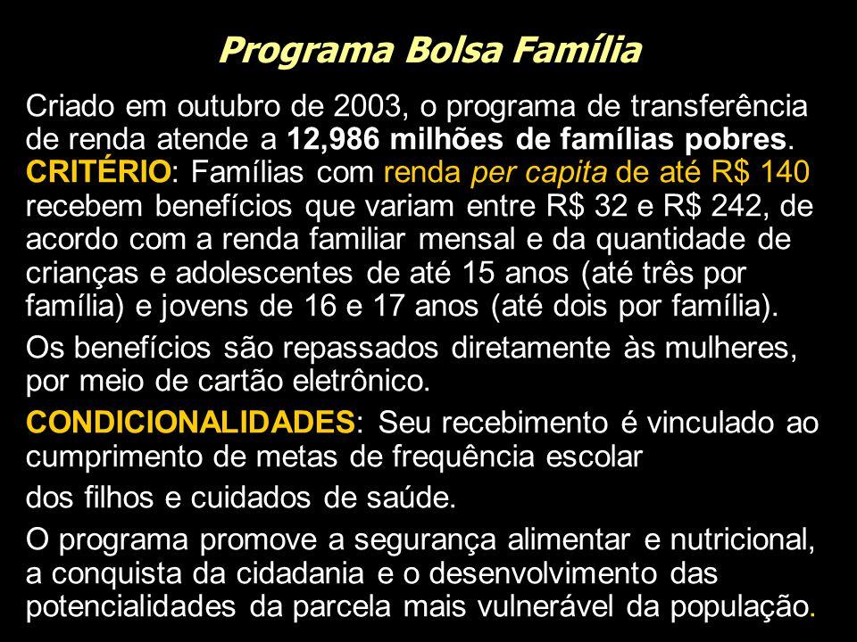 Programa Bolsa Família Criado em outubro de 2003, o programa de transferência de renda atende a 12,986 milhões de famílias pobres. CRITÉRIO: Famílias