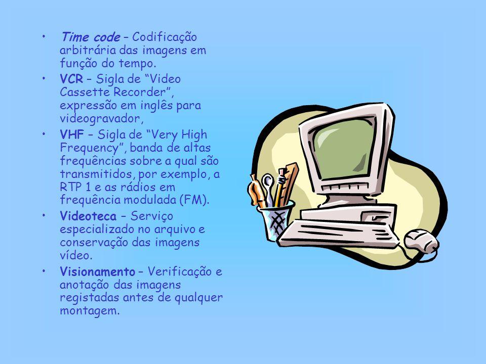 """Time code – Codificação arbitrária das imagens em função do tempo. VCR – Sigla de """"Video Cassette Recorder"""", expressão em inglês para videogravador, V"""