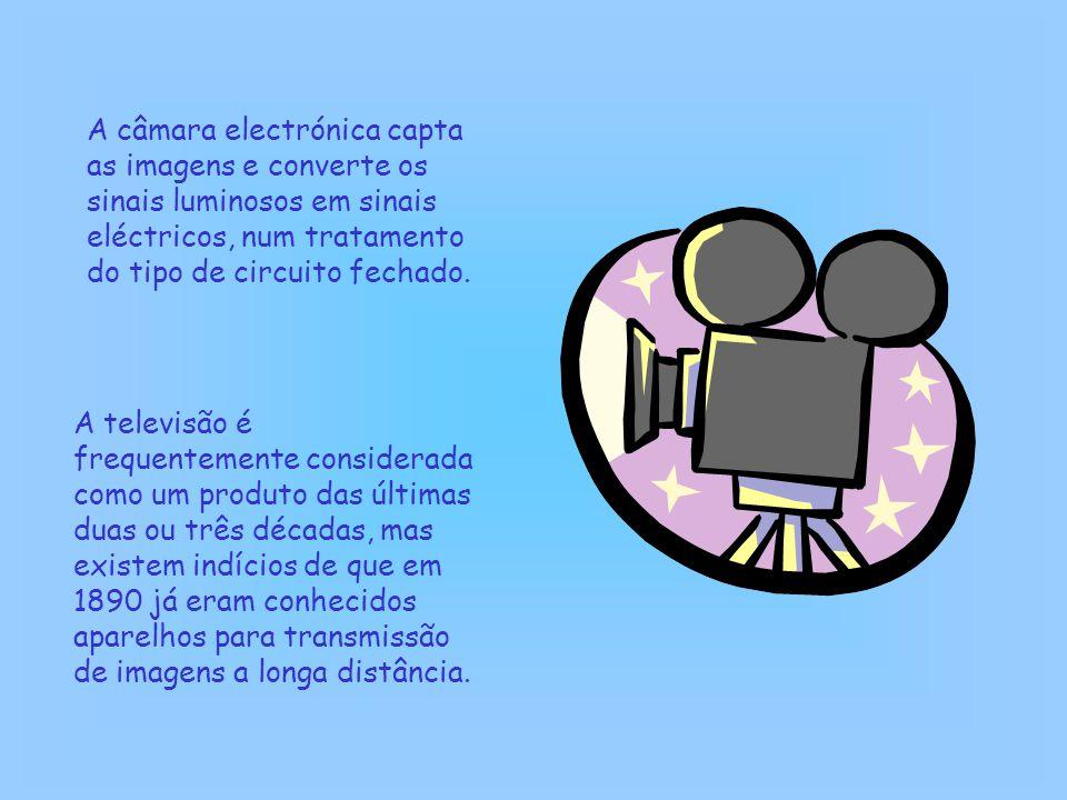 A câmara electrónica capta as imagens e converte os sinais luminosos em sinais eléctricos, num tratamento do tipo de circuito fechado. A televisão é f