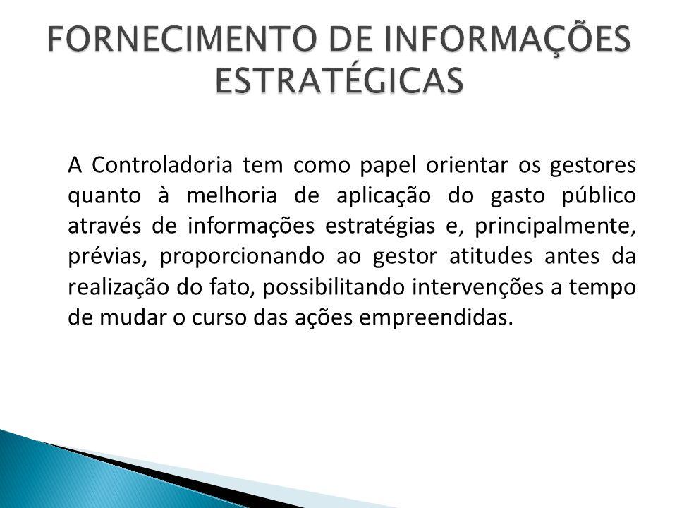 A Controladoria tem como papel orientar os gestores quanto à melhoria de aplicação do gasto público através de informações estratégias e, principalmen
